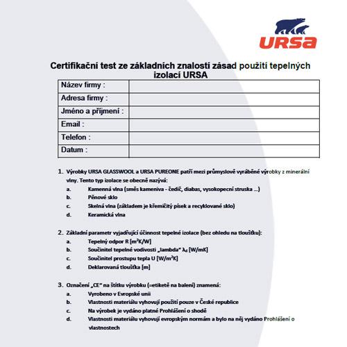 Certifkační test URSA